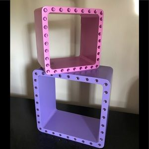Decorative cubed shelves for girl's room